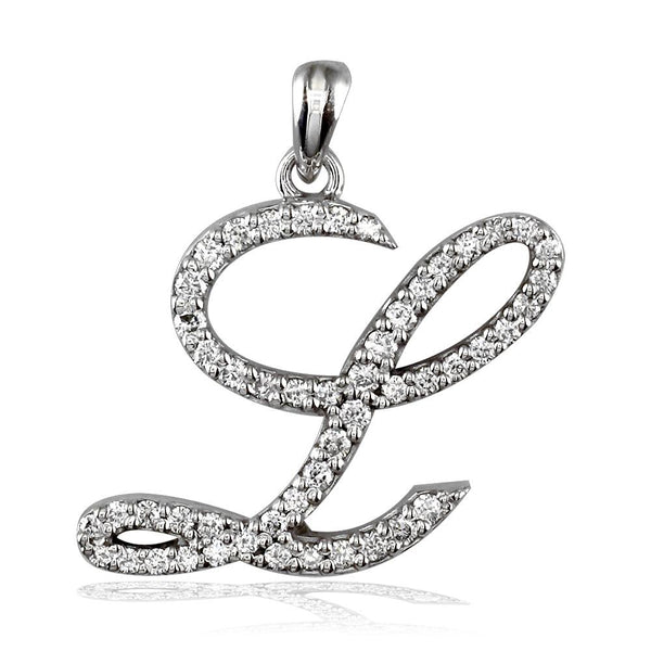 Script Diamond Initial L Pendant, 0.75CT in 18K White gold