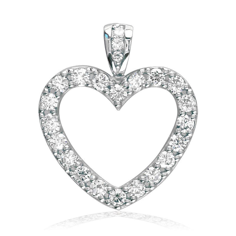 Diamond Heart Pendant, 0.84CT in 14K White Gold
