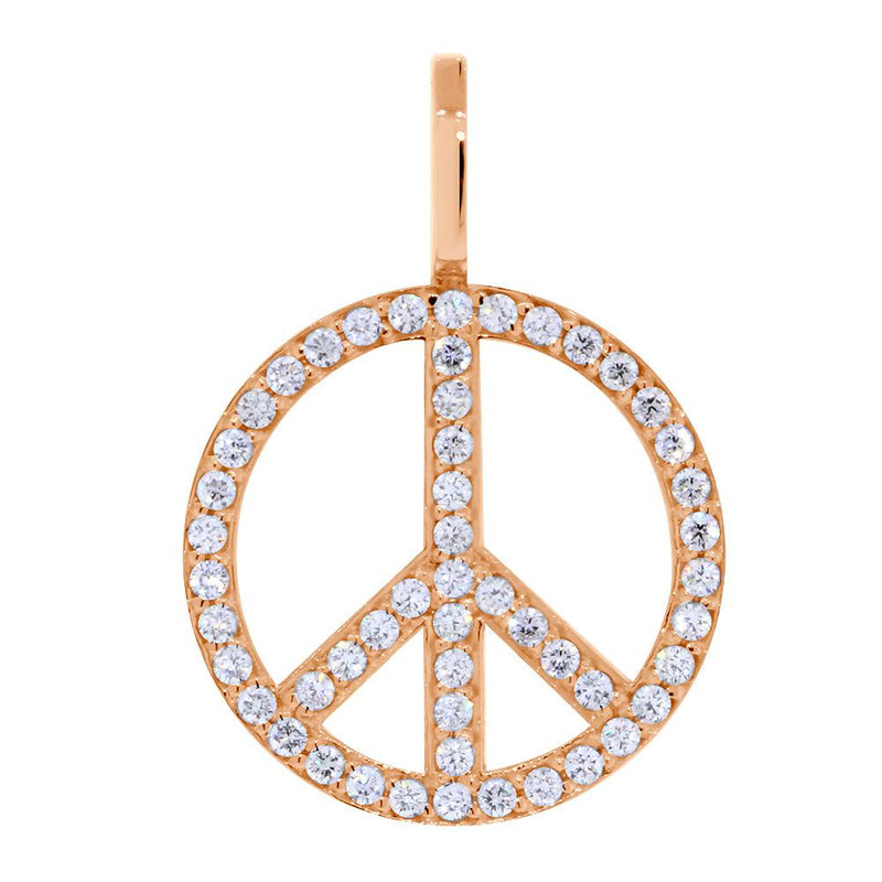 Large Diamond Peace Sign Pendant, 0.75CT in 18K Pink, Rose Gold