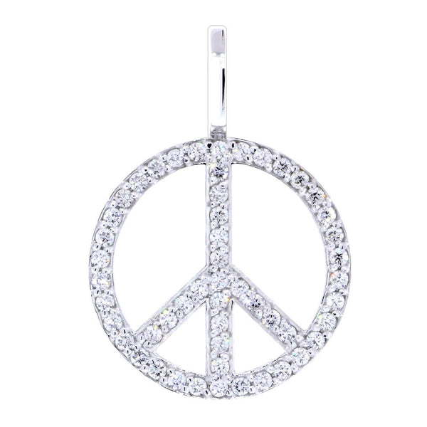 Large Diamond Peace Sign Pendant, 0.75CT in 18K White gold