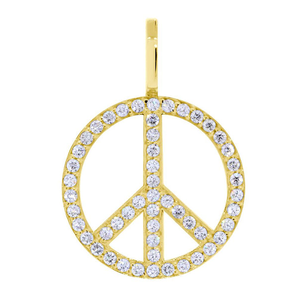 Large Diamond Peace Sign Pendant, 0.75CT in 14K Yellow Gold
