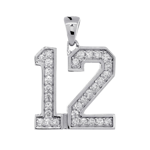 19mm Athletes Jersey Number #12 Diamond Pendant, 0.65CT in 14k White Gold