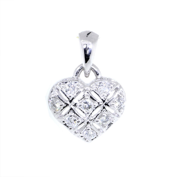 9mm Diamond Heart Pendant, X O, Hugs and Kisses, 0.25CT in 14K White Gold