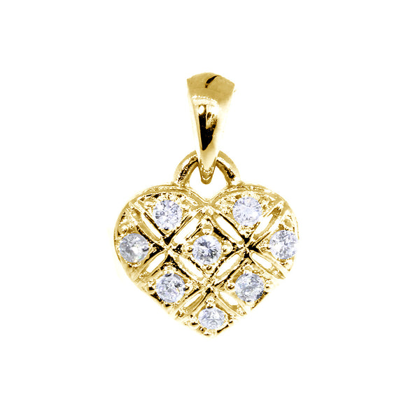 9mm Diamond Heart Pendant, X O, Hugs and Kisses, 0.25CT in 14K Yellow Gold