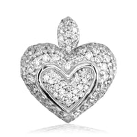 Medium Puff Diamond Heart Pendant, Small Bail Version, 0.75CT in 18K white gold