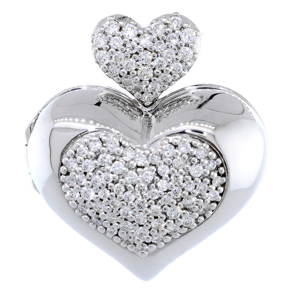 Large Diamond Heart Locket, 0.90CT in 18k White Gold
