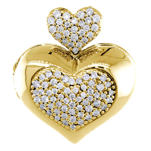 Large Diamond Heart Locket, 0.90CT in 14k Yellow Gold