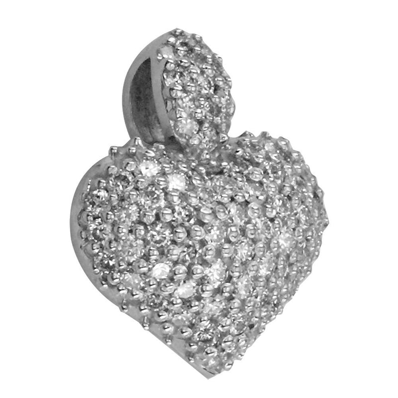Puffed Diamond Heart Pendant, 0.80CT in 18K white gold