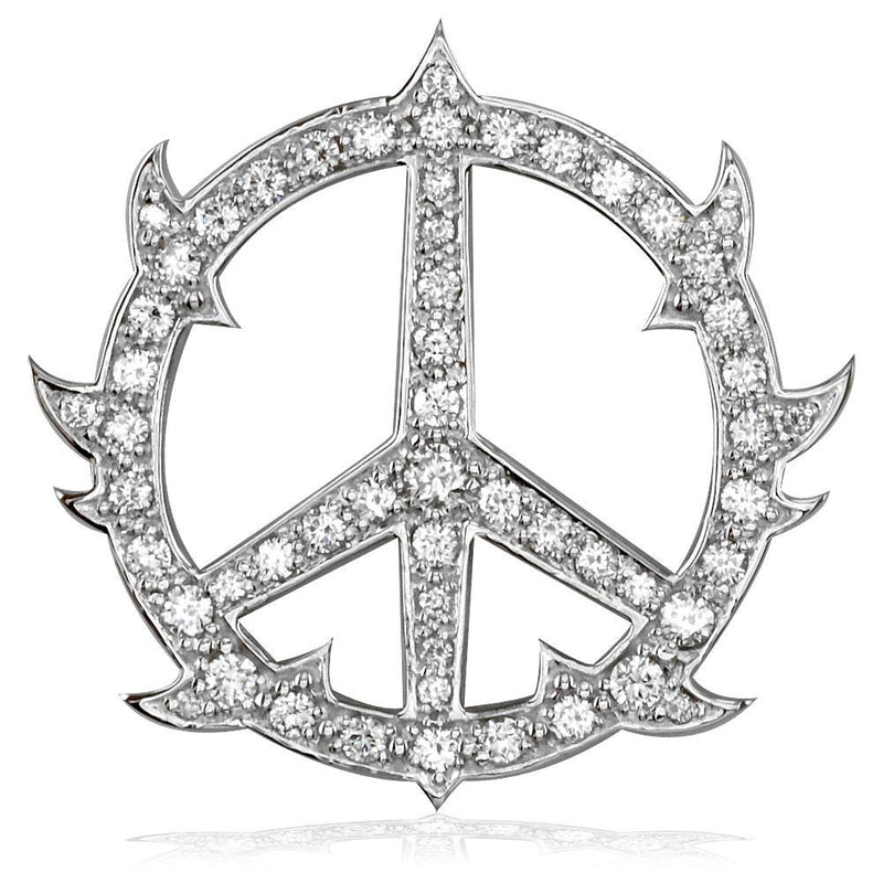 Large Diamond Guarded Peace Sign Charm, 1.75CT, 1 1/4 Inch in 14K White Gold