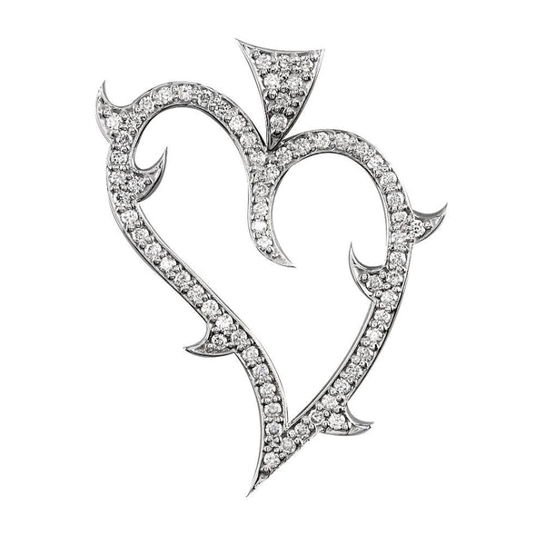 Large Diamond Guarded Love Heart Pendant, 1.25CT in 18K White gold
