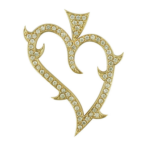Large Diamond Guarded Love Heart Pendant, 1.25CT in 14K Yellow Gold