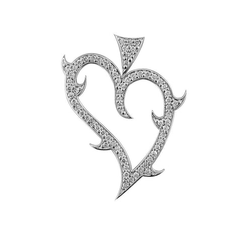 Medium Diamond Guarded Love Heart Pendant, 0.70CT in 18K White gold