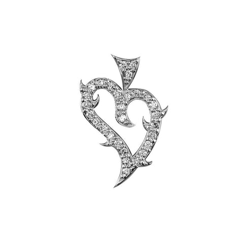 Mini Diamond Guarded Love Heart Pendant, 0.30CT in 14K White Gold