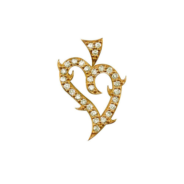 Mini Diamond Guarded Love Heart Pendant, 0.30CT in 18K Yellow gold