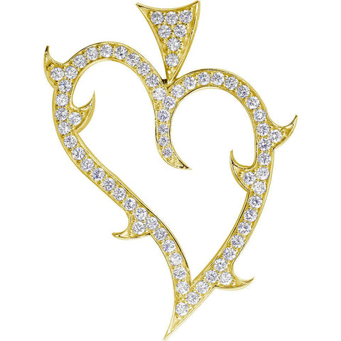Couture Guarded Love Heart Pendant with Cubic Zirconias in 14K Yellow Gold