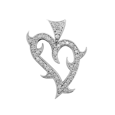 Small Diamond Guarded Love Heart Pendant, 0.50CT in 18K White gold
