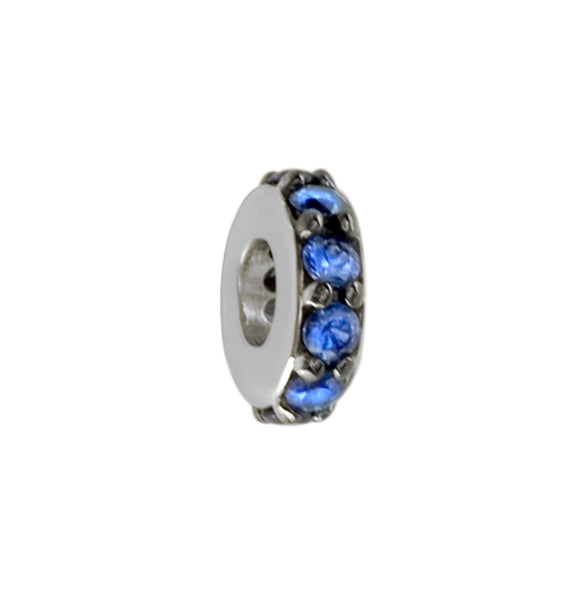 8mm Blue Sapphire Spacer, Roundel, 0.30CT in 14k White Gold