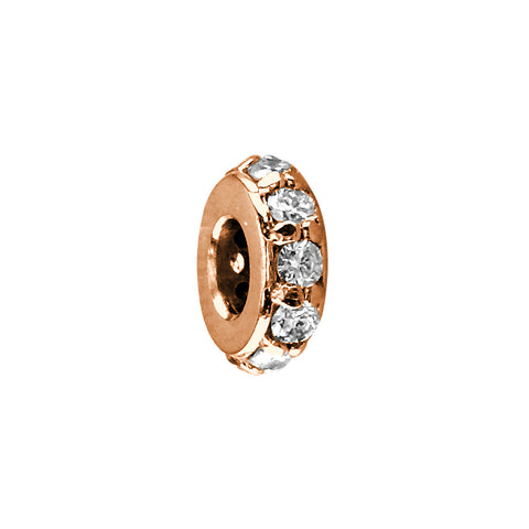 8mm Diamond Spacer, Roundel, 0.30CT in 14k Pink, Rose Gold