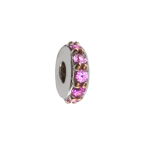 8mm Pink Sapphire Spacer, Roundel, 0.30CT in 14k White Gold