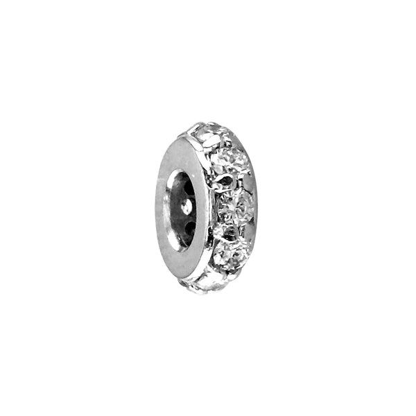 8mm Cubic Zirconia Spacer, Roundel in Sterling Silver