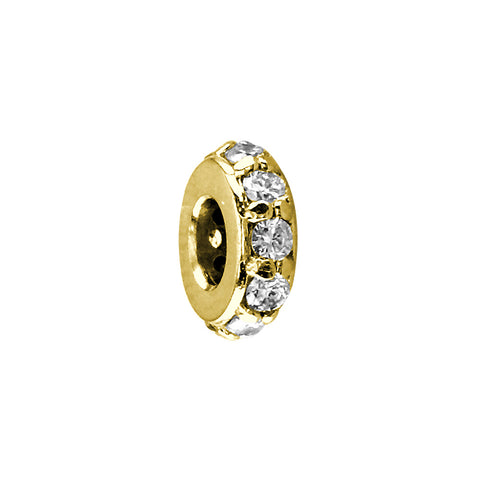 8mm Diamond Spacer, Roundel, 0.30CT in 14k Yellow Gold