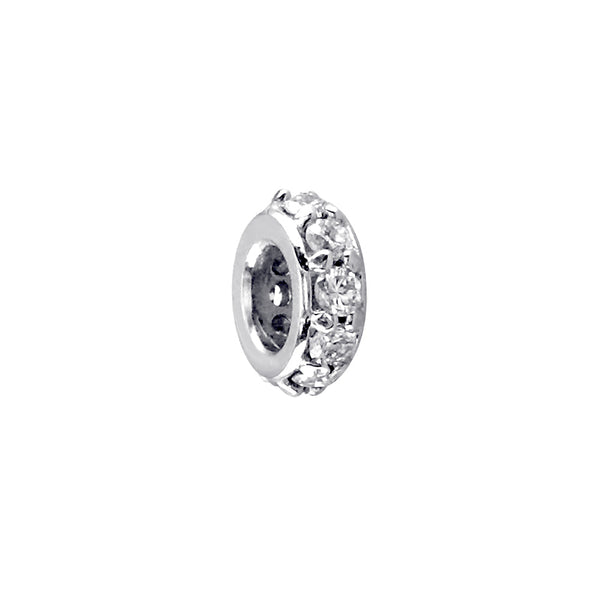 6.5mm Cubic Zirconia Spacer, Roundel in Sterling Silver