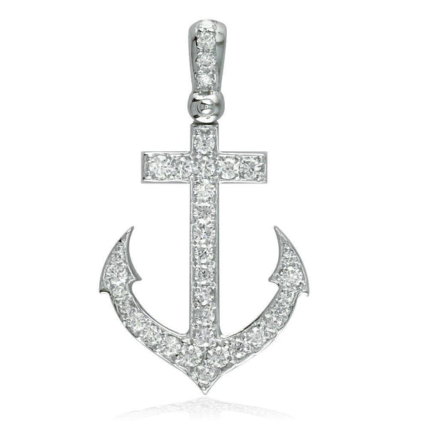 14K White Gold Diamond Anchor Pendant, 0.80CT