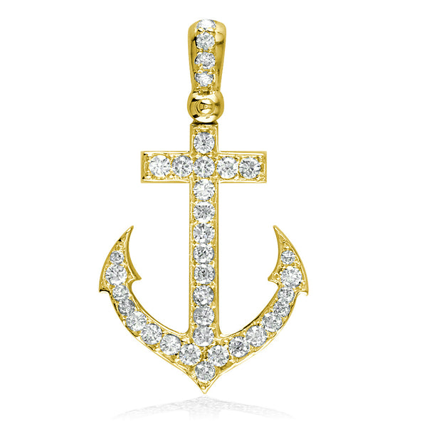 Diamond Anchor Pendant, 0.80CT in 18k Yellow Gold