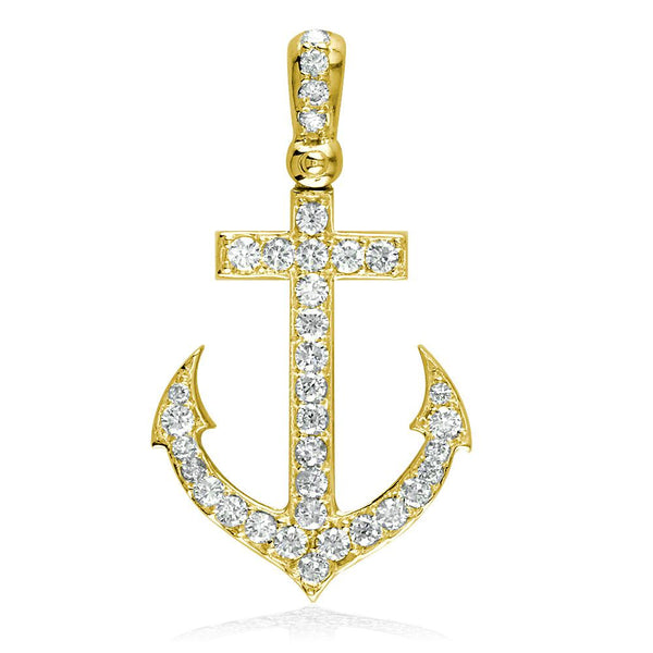 Diamond Anchor Pendant, 0.80CT in 14k Yellow Gold