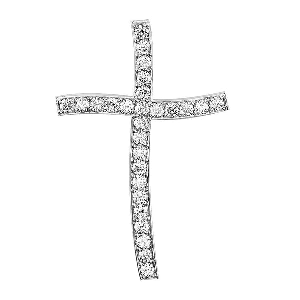 Large Wavy Diamond Cross Pendant, 1.97CT in 18K white gold