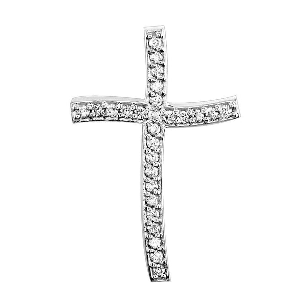 Smaller Size Wavy Diamond Cross Pendant, 0.25CT in 18K white gold