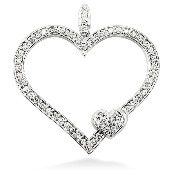 Large Mothers Love Diamond Heart Pendant with One Child Heart in 18K white gold
