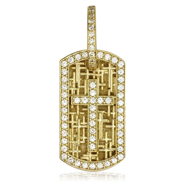 Diamond Cross Dog Tag Pendant with Scattered Cross Texture in 18K yellow gold