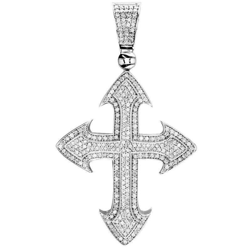 Huge Designer Diamond Cross Pendant, 4.00CT in 14K White Gold