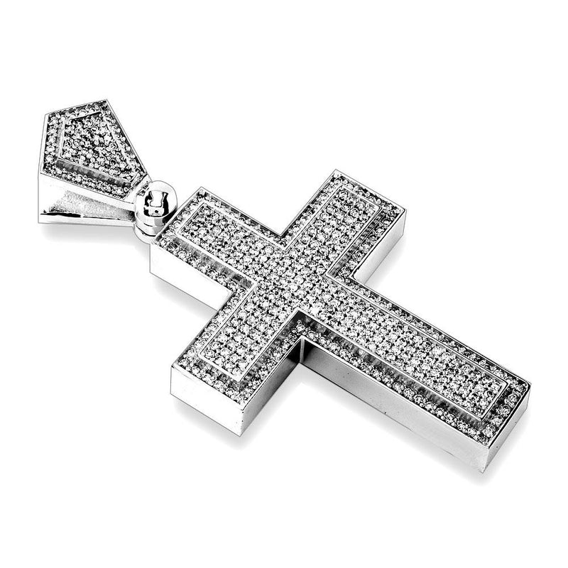 Huge Designer Diamond Cross Pendant, 4.12CT in 14K White Gold