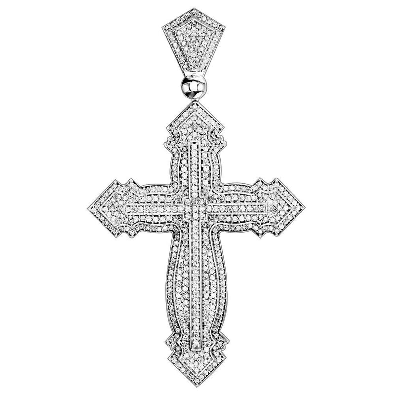 Huge Designer Diamond Cross Pendant, 4.89CT in 14K White Gold