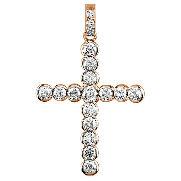 Diamond Cross Pendant with Bezel Settings, 2.07CT in 14K Pink, Rose Gold