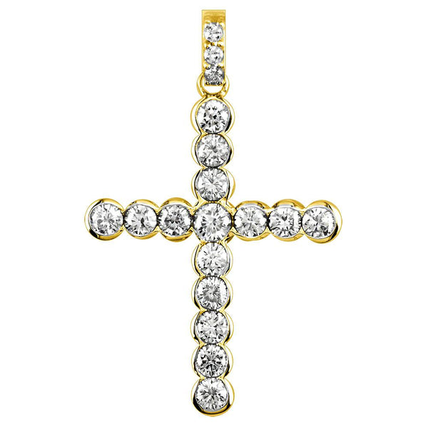 Diamond Cross Pendant with Bezel Settings, 2.07CT in 18K yellow gold