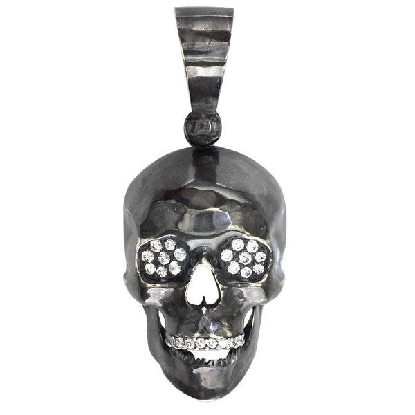 Large Black Skull Pendant with Cubic Zirconia in Sterling Silver