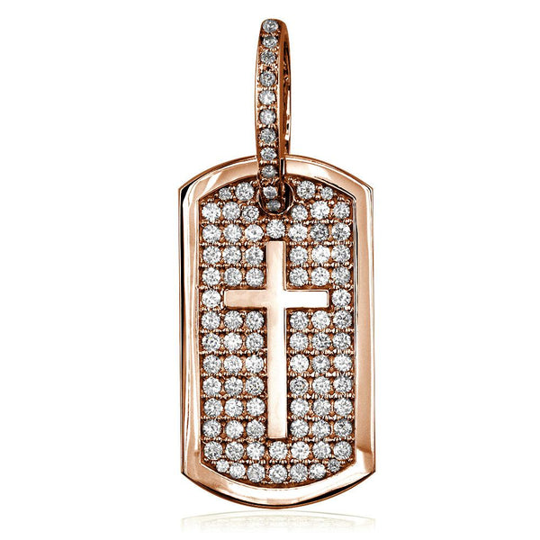 Diamond Dog Tag Pendant with Cross Symbol, 3.20CT in 18K Pink, Rose gold
