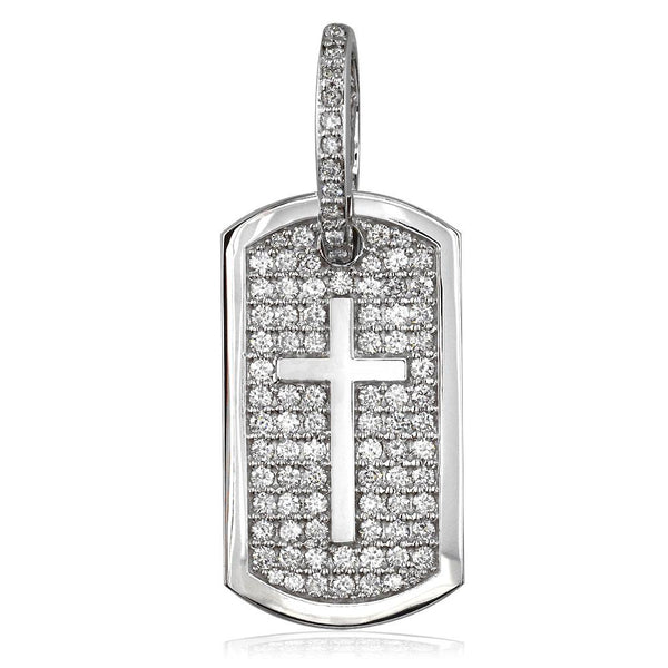 Diamond Dog Tag Pendant with Cross Symbol, 3.20CT in 14K White Gold