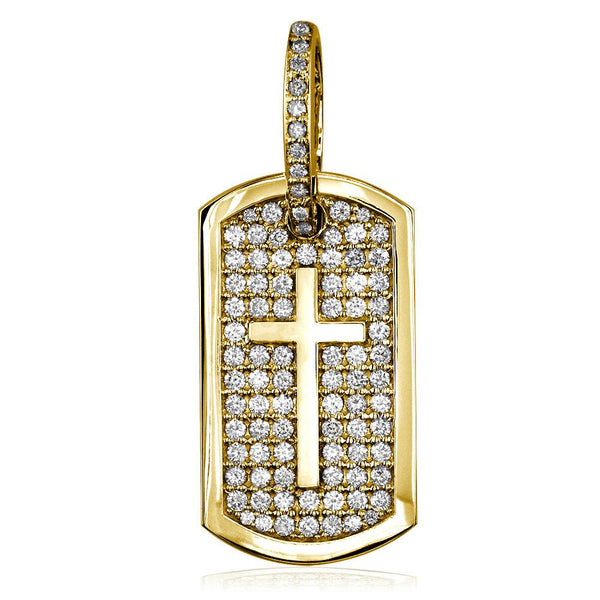Diamond Dog Tag Pendant with Cross Symbol, 3.20CT in 18K yellow gold