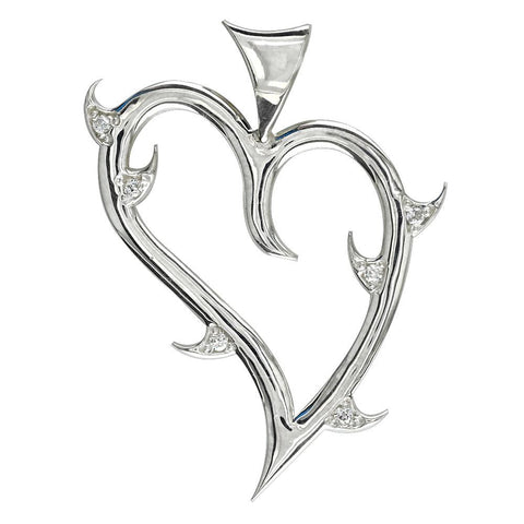 CZ Thorns, Large Guarded Love Heart Pendant with Cubic Zirconias in Sterling Silver