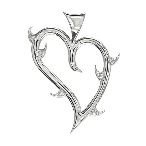 CZ Thorns, Medium Guarded Love Heart Pendant with Cubic Zirconias in Sterling Silver