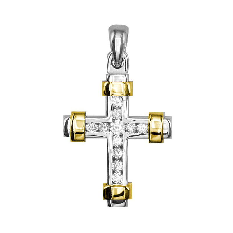 Small Two Tone Diamond Cross Pendant, 0.30CT in 14K White and Yellow Gold