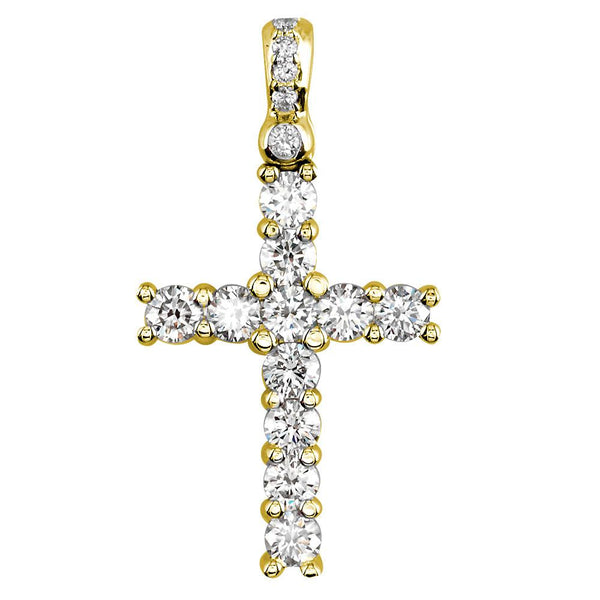 Diamond Cross Pendant, 2.00CT in 14K Pink, Rose Gold