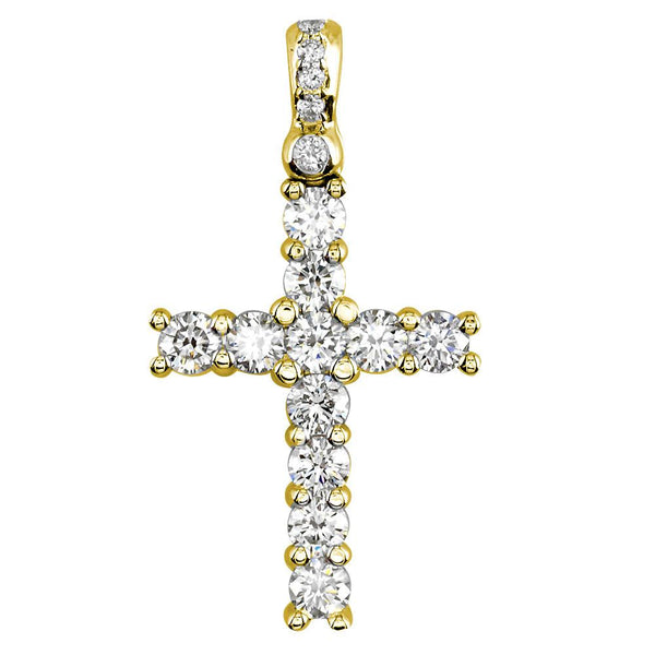 Diamond Cross Pendant, 2.00CT in 14K Yellow Gold