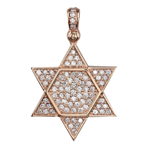 Large Diamond Star of David, Jewish Star Pendant, 2.05CT in 14K Pink, Rose Gold