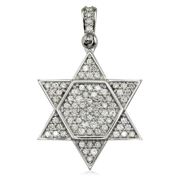 Large Diamond Star of David, Jewish Star Pendant, 2.05CT in 18K White gold