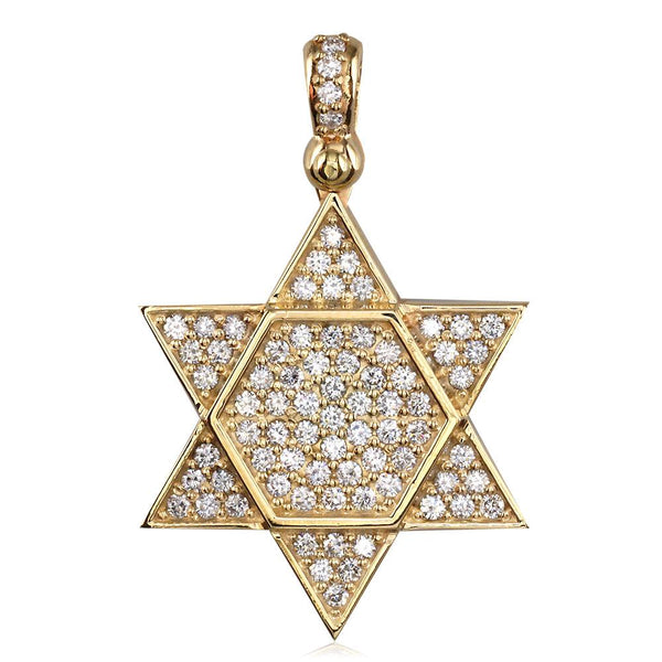 Large Diamond Star of David, Jewish Star Pendant, 2.05CT in 18K Yellow gold